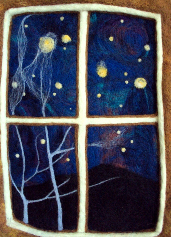 RESERVED Felt wall hanging, original wool artwork, needle felted night sky with stars.