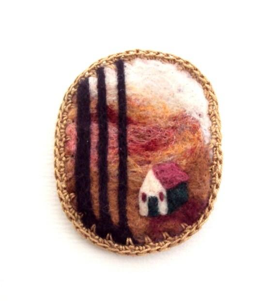 Felt brooch, Scottish woodland cottage, wearable art, needle felted wool badge
