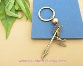 The Hunger Games pendant ,Inspired Mockingjay keychain-----Pretty retro copper Artificial pearls& bird with arrow keychain