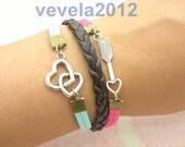 lover Bracelet ------Pretty  silver  heart to heart bracelet ,lover arrow bracelet, Flocking leather cords,Knitting leather  bracelet