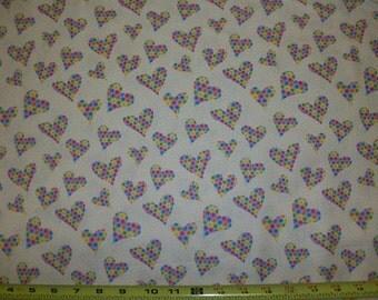 VALENTINE  Hip Hop HEARTS  pattern  1 Yard - 100% Cotton Multi-Color