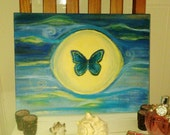 """16 inch canvas"""" BLUE MORPHO BUTTERFLY """"hand made original one of a kind  3d art painting picture gift"""