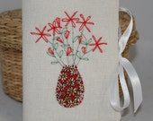 Embroidered Needle Book - Red Flowers
