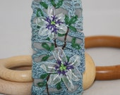 Embroidered Brooch - Clematis on Vintage Lace