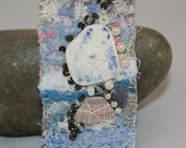 Embroidered and Beaded Sea Pottery Brooch