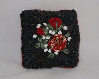 Embroidered Pin Cushion - Red Roses