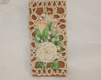 Embroidered Brooch - Ivory Roses on Ivory Vintage Lace