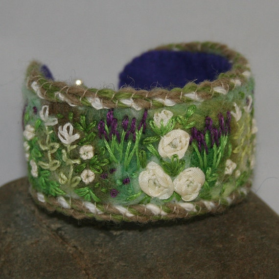 RESERVED for ALISON DAVEY Embroidered Bracelet - Rose Border