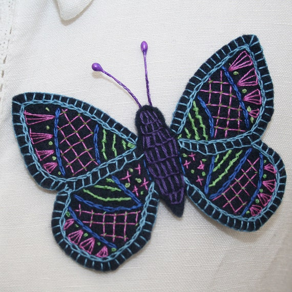 Embroidered Brooch Butterfly on felt - Crewel work inspired