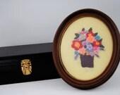SALE Vintage Oval Framed Embroidery, Floral Needlework, Was 22.00