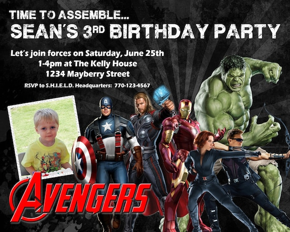 Avengers Birthday Invitation Design w/ Child's Photo -  Customized with party info & kid's picture - Iron Man, Captain America, Thor, Hulk