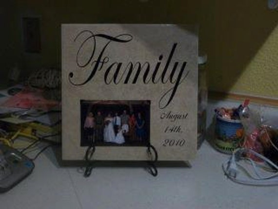 Decorative Cermic Tile with Easel  Family Picture