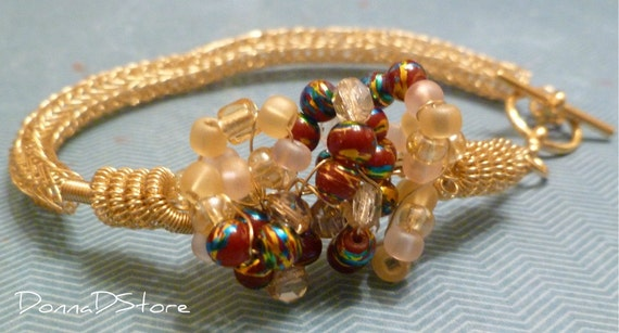 Viking Knit chain Bracelet: gold beadwork wire component