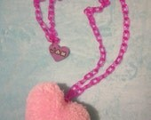 kawaii large pom pom heart necklace baby pink