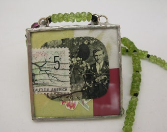 August birthstone - peridot - Verdant Neckace - soldered glass pendant - collage - green magenta - floral
