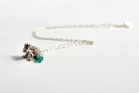 Sterling silver frog prince charm with emerald green Swarovski crystal necklace