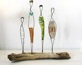 Wire Sculpture. Rustic Folk Art. Mixed Media Driftwood Art. Titled: Sisterhood