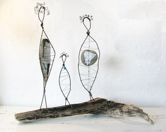 Mother Daughter Grandmother Wire Sculptures - Rustic Folk Art Sculpture - Three Generations - Driftwood Beach House Decor