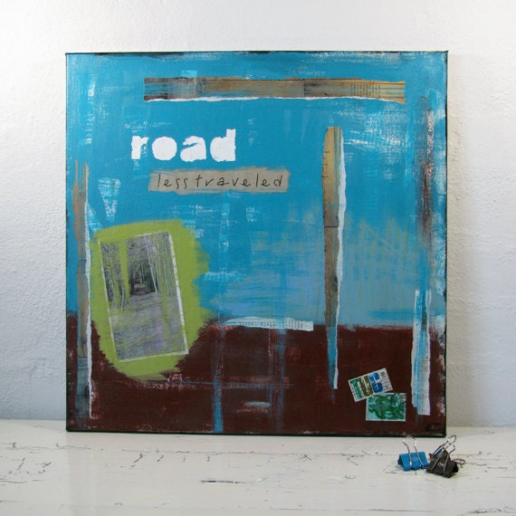 """Mixed Media Painting  """"The road less traveled"""". Collage in Turquoise and Brown."""