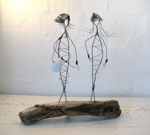 Wire Sculpture. Titled: The French Sisters. Mounted on Driftwood with details made from Seashells. Mixed Media Sculpture.