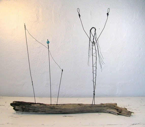 "Wire Sculpture Driftwood - ""Celebrate Life"". Rustic Sculpture Mixed Media Art. Simple Soul Inspirational House Decor"