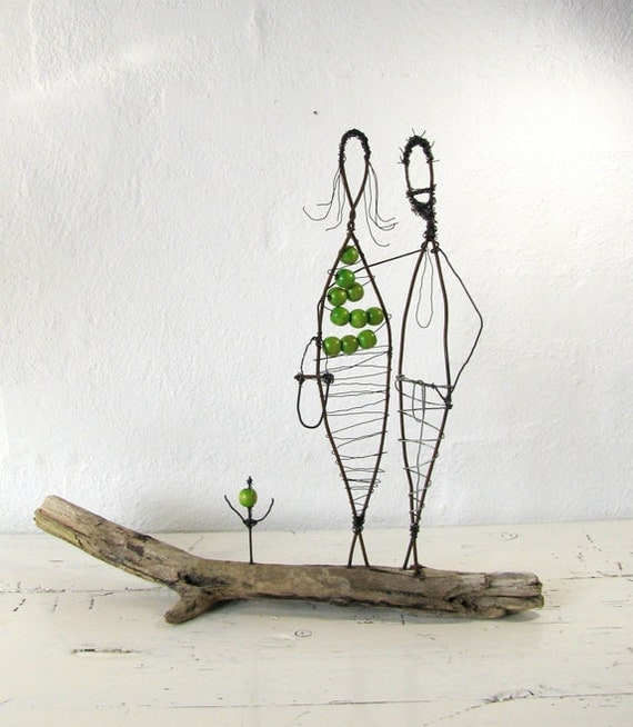 You and I. Wire Sculpture. Folk Art Series. Mixed Media. Driftwood. Rustic House Decor.