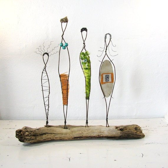 Wire Sculpture. Rustic Folk Art. Mixed Media Driftwood Art. Titled: Sisterhood