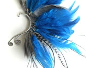 Silver Wire, Blue hand dyed Rooster feather, with Peacock and Pheasant accented Ear Cuff