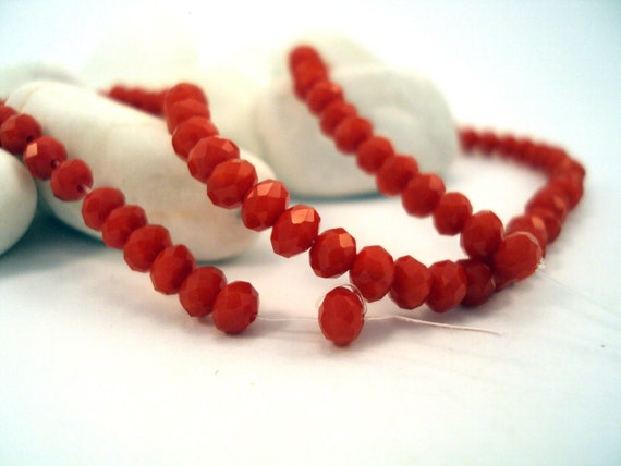 Rondelle Faceted Chinese Crystals, -4mm-Coral color for Jewelry and Craft Projects, 1strand-95pieces