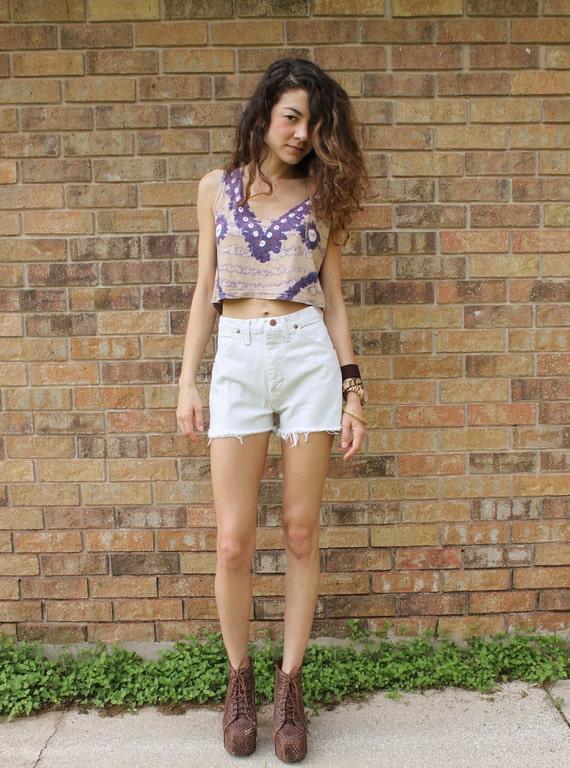 SALE White High Waisted Denim Cut Off Jean Shorts Small