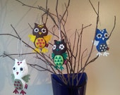 Felt Ornament, Christmas Owl Decoration, Set of 4, MADE TO ORDER
