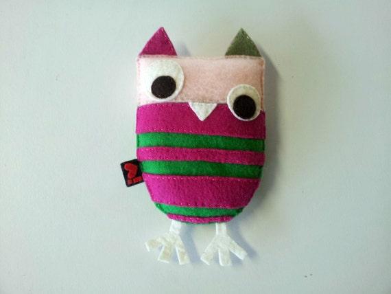 Eco Felt Owl Embroidery Softie Plushie Toy Gift Nursery