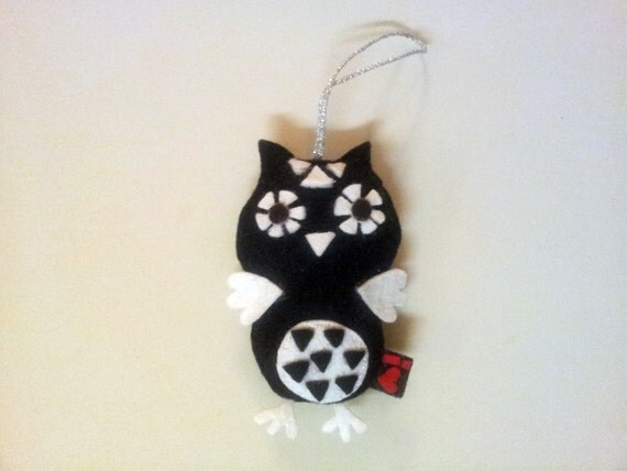 Owl Stuffed Plushie Hanging Felt Decor Ornament