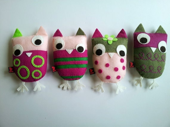 Owl Plush Set of 4 Eco Felt Softie Embroidery Gift MADE TO ORDER