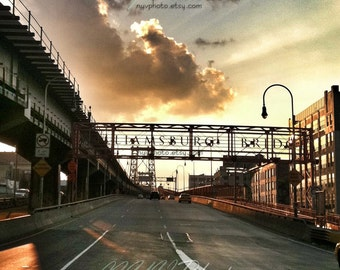 Original photograph / print. iPhoneography, Sunset on the Williamsburg Bridge. Brooklyn NYC. - 8x8