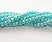 Baby Blue (aqua) pearl beads, 4mm, 100 pieces