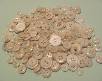 Lot of Assorted White Plastic Buttons 150 Plus