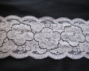 Vintage Extra Wide Beige Floral Lace  - 5.5 Inches Wide - By the Yard  #012