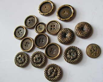 Vintage Lot of 16 Assorted Gold Brass Metal Buttons