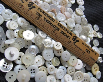 Lot of Over 150 Assorted Small White Vintage Buttons (Lot #14C)