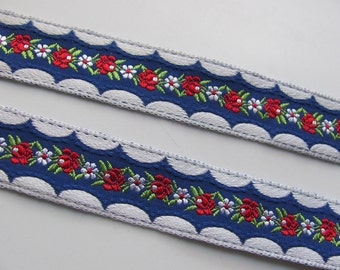 Embroidered Woven Floral Trim Edge  - .825 Inch Wide - 3 yard length - Original Vintage 1970s