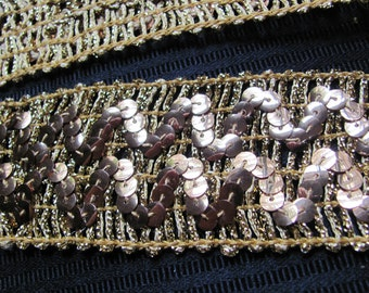 Gold Metallic Sequin Woven Trim Edge  - 2 Inch Wide - - By the Yard - Original Vintage 1970s