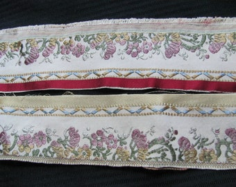 Embroidered Gold Woven Floral Trim Edge  - 2.25 Inches Wide - Original Vintage 1970s - 2.5 Yards Total