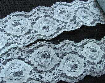 Vintage Wide Light Blue Floral Lace  - 3 Inches Wide - By the Yard - Original 1970s #002B