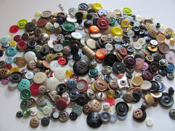 Vintage Lot of 350 Plus Assorted Plastic and Metal Buttons - Unsorted