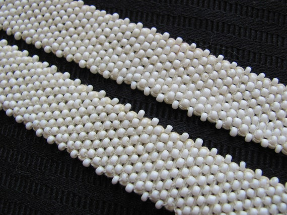 White Ivory Beaded Woven Trim Edge  - .75 Inch Wide - Original Vintage 1970s