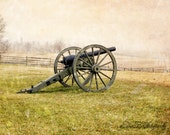 Civil War Photograph, Cannon in Winter, Snow, Antietam Battlefield Historic Fine Art Photo