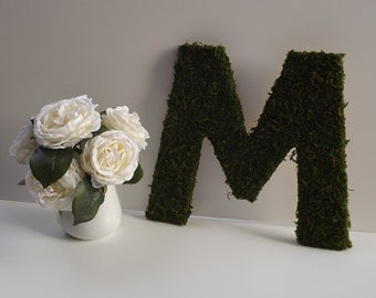 Moss covered Letter 12 inch