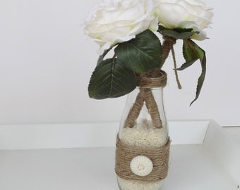 Jute Wrapped English Rose Wedding Guest Book Pen Set
