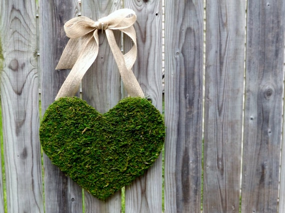 Moss Covered Wood Heart with Burlap Bow.